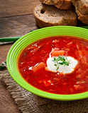 Traditional Ukrainian Russian vegetable borscht soup Stock Photo