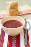 Traditional Ukrainian soup - red borsch Stock Photos