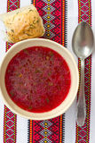 Traditional Ukrainian soup - red borsch Stock Image