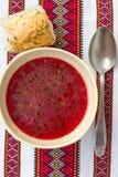 Traditional Ukrainian soup - red borsch Stock Image