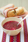 Traditional Ukrainian soup - red borsch Royalty Free Stock Photography