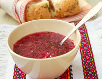 Traditional Ukrainian soup - red borsch Stock Photography