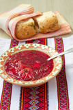 Traditional Ukrainian soup - red borsch Royalty Free Stock Photo