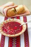 Traditional Ukrainian soup - red borsch Royalty Free Stock Photo