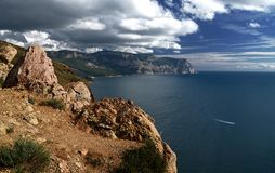 Summer day landscape with the sea and mountains. Ukraine, Republic of Crimea stock photos