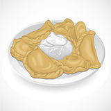 Traditional Ukrainian vareniki with cream. Vector Stock Photography