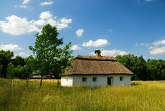 Traditional ukrainian village house. Museum of traditional ukrainian culture Pirogovo Stock Photos