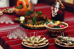 Traditional ukrainian wedding catering table at reception closeu Royalty Free Stock Photography