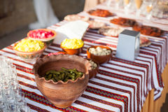 Traditional ukrainian wedding feast table at reception: snacks a Stock Photo