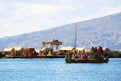 Traditional uros boat, in uros island, Puno, Peru Peruvian andes Royalty Free Stock Images