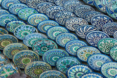 Traditional Uzbek ceramic plates Stock Photo