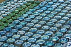Traditional Uzbek ceramic plates Stock Images