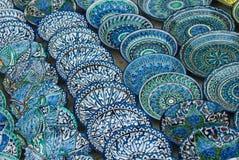Traditional Uzbek ceramic plates royalty free stock photos