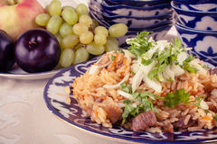 Traditional uzbek meal called pilaf and onion Royalty Free Stock Image