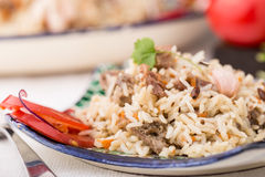 Traditional uzbek pilaf (plov) with tomatoes and red onion Stock Images
