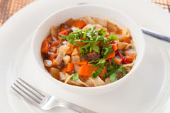 Traditional uzbek soup lagman Stock Images