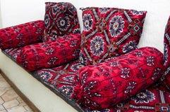 Traditional Uzbek textured sofa Royalty Free Stock Images