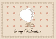 Traditional Valentine Day Heart Greeting Template Stock Photos