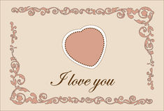 Traditional Valentine Day Heart Greeting Template Stock Image
