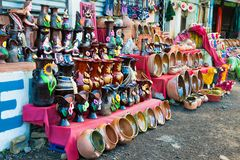 Traditional vase and jar at market in Antigua, Guatemala. Central America stock image