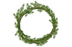 Traditional vector Merry Christmas wreath spruce Royalty Free Stock Photography