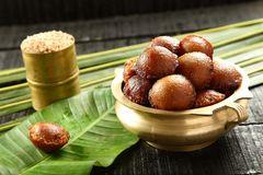 Tasty unniappam, Kerala vegan sweet snack. Traditional vegan sweet snack fried in coconut oil from Kerala cuisine Royalty Free Stock Photos