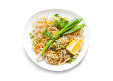 Traditional - Vegetarian Pad Thai dish,  on white Stock Photography