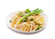 Traditional - Vegetarian Pad Thai dish,  on white Royalty Free Stock Photos