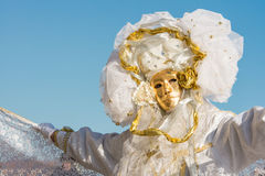 Traditional Venetian carneval mask. Traditional carneval mask from annual festival in Venice royalty free stock photos