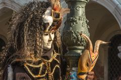 Traditional venetian carnival costume mask Stock Photo