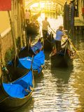 Traditional Venetian Gondolas on channel. Venice, Italy Stock Images