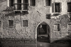 Traditional Venetian House, Italy. Black and White Stock Image