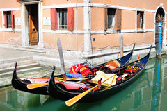 Traditional Venetian landscape with gondolas Stock Photography