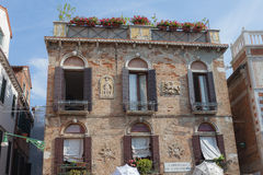 Traditional venice building. With windows and flowers Royalty Free Stock Image