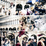 Traditional Venice carnival collage Stock Images