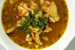 Traditional and very popular in east and south Europe soup from beef tripe Royalty Free Stock Images
