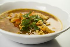 Traditional and very popular in east and south Europe soup from beef tripe Royalty Free Stock Photos
