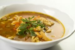 Traditional and very popular in east and south Europe soup from beef tripe Royalty Free Stock Image