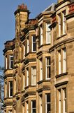 Traditional Victorian tenement housing, Scotland. A block of traditional sandstone tenement flats from Edinburgh, Scotland royalty free stock photo