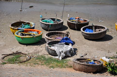 Traditional Vietnamese fishing boats in Mui Ne port, Vietnam Stock Photo
