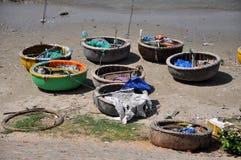 Traditional Vietnamese fishing boats in Mui Ne port, Vietnam Stock Photo