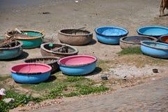 Traditional Vietnamese fishing boats in Mui Ne port, Vietnam Stock Image