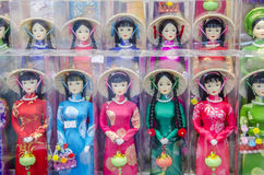 Traditional Vietnamese dolls. A selection of packaged Vietnamese doll souvenirs Stock Images