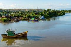 Traditional vietnamese fishing village stock photography