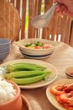 In Vietnam, family meals with many Traditional Vietnamese Food has been one of the unique cultural features Stock Image