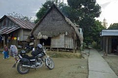 Traditional Vietnamese house and bike Royalty Free Stock Images