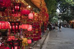 Traditional Vietnamese lantern or lamp is hanging for decoration in public street area. Traditional Vietnamese lanterns or lamp is hanging for decoration in stock photo