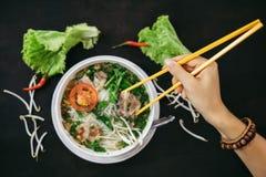 Traditional vietnamese street food. Soup pho bo Royalty Free Stock Photos
