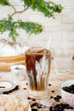 Traditional Vietnamese, Thai Ice coffee with beans on wooden background Stock Images