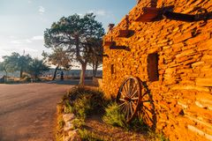 Traditional view of grand canyon village. With sunrise in the morning Stock Photo